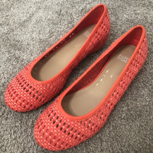 Eileen Fisher Strap Weave Wedge Flat 8 Coral Peony